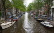 Narrow Amsterdam Canal Overcast