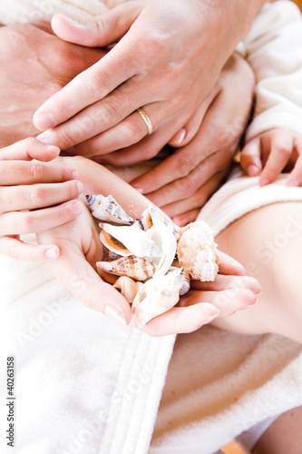 Human hand holding shells, close-up
