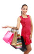 woman with shopping bags presenting