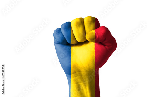 Fist painted in colors of romania flag