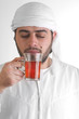 arabian guy drinking tea