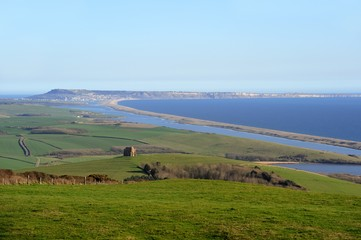 Clear view to Portland Dorset from Abbotsbury with Chesil Beach.