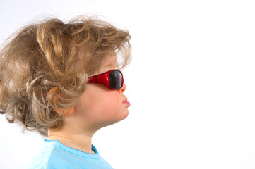little funny girl with sunglasses