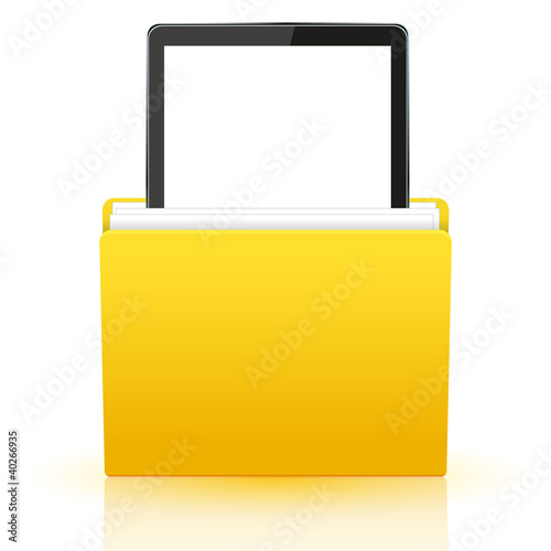 Vector computer tablet in yellow folder. Eps10
