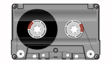 Compact audio cassette animation with alpha