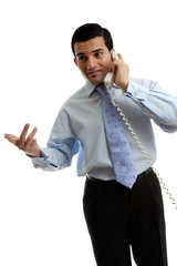 Businessman salesman talking on the phone