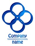 3D four blue logo