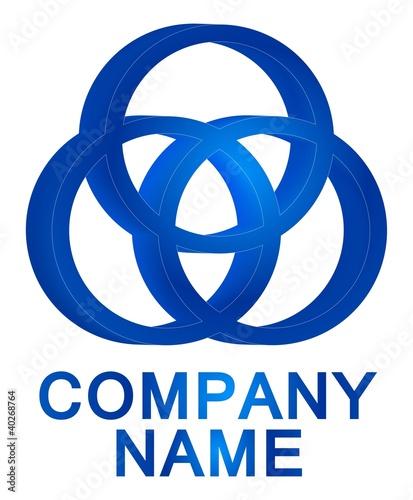 3D three blue circles logo