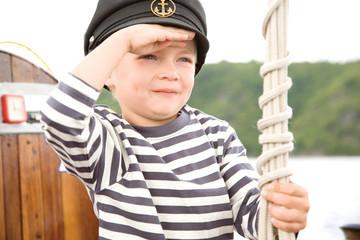 Boy holding rope