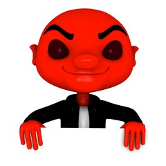 3d Red boy with smiling head