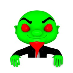 3d Green boy with smiling head