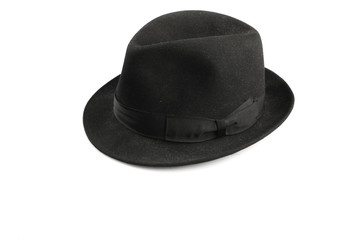a black fedora hat isolated on white