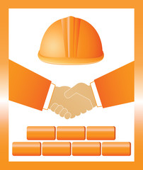 construction sign with helmet, handshake and bricks