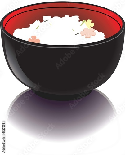 Black bowl with rice