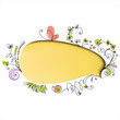 Yellow speech bubble with floral elements