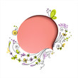 Pink speech bubble with floral elements