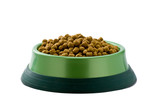 Dog food heaped in green plastic bowl on white background.