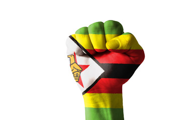 Fist painted in colors of zimbabwe flag