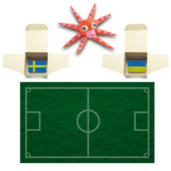 Squid Football with the flag Sweden and Ukraine