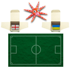 Squid Football with the flag Ukraine and England