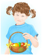 Happy Easter! Little girl holding baskets with color eggs