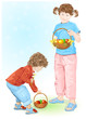 Happy Easter! Children holding baskets with eggs