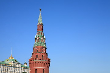 Kremlin tower on sky background in city center