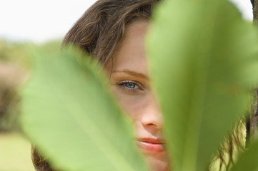 Young woman contemplating, portrait