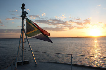 South African flag flying