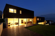 view of the beautiful modern houses, .outdoor at night
