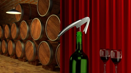 how to open a bottle of wine  in  the winery