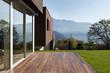 Leinwanddruck Bild - beautiful modern house with garden, outdoor