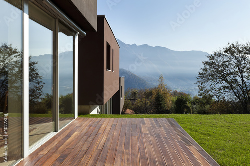 Leinwanddruck Bild beautiful modern house with garden, outdoor