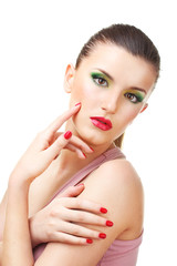 portrait of sexy young woman with glamour make up and red