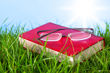 Red book on grass with spectacles.