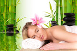 Fototapety Beautiful blond girl relaxing, concept of spa
