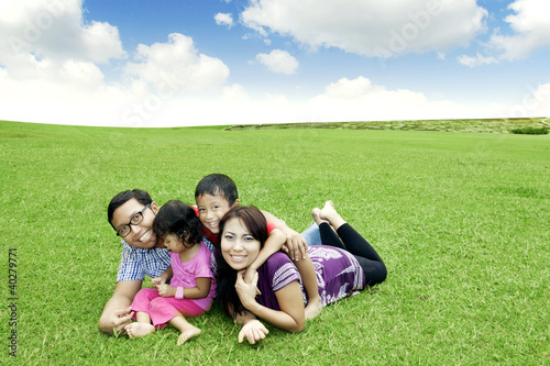 Happy Asian family outdoor