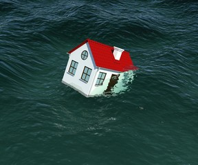 House with red roof sinks in water. 3d rendering
