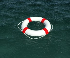 Lifebuoy floating in the water. 3d rendering