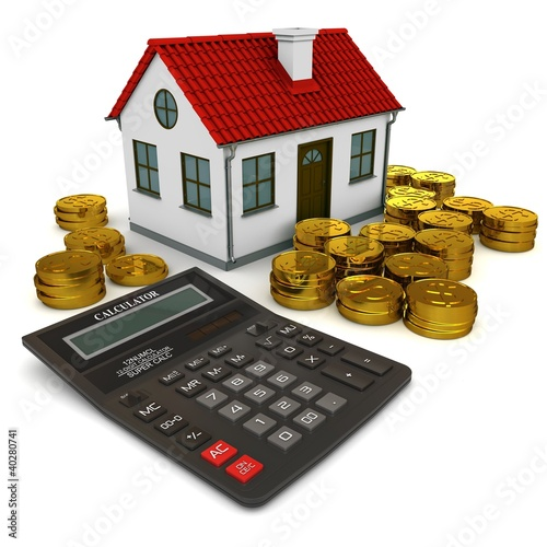 House, calculator and stacks of gold coins dollar