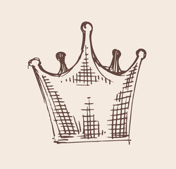 Hand drawn vector crown illustration