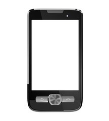 Mobile phone with blank screen. Has clipping paths.