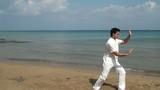 Man practicing Tai Chion the beach