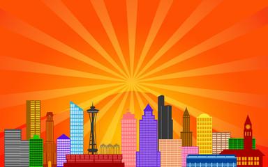 Seattle Washington City Skyline Panorama