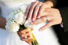 """Постер, картина, фотообои """"Wedding rings and hands"""""""
