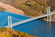 Bear Mountain bridge aerial view in Autumn  over Hudson River