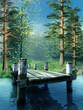 Drewniane molo na niebieskim jeziorze