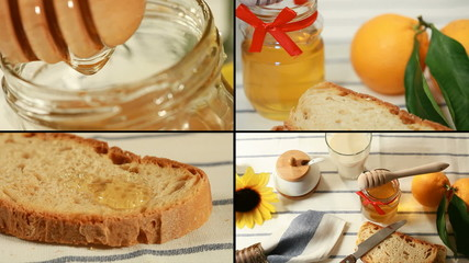 Breakfast with honey and bread (4 frame)