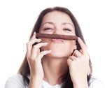 woman smelling a cigar