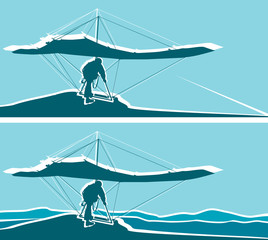 Silhouette of hang glider waiting to take off Separate layers